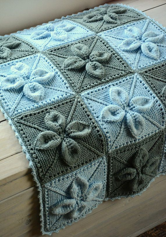 Babyblanket.Hand knitted baby blanket - blue and grey. For babygirl ...