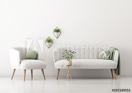 Living room interior wall mockup with gray velvet sofa and armchair, round pillow with tropical pattern, green plaid and plants on empty white wall background. 3D rendering, illustration.