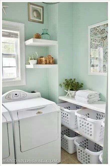 Shelves for washing baskets