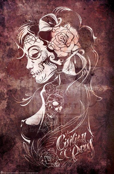 cde953710 I know I want a DOTD pinup...this is pretty but not quite what I want... Day  Of The Dead ...