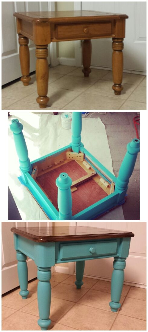 Chalk paint end table with dark stain top. Beautiful teal color. See more at 416redesign.blogspot.com