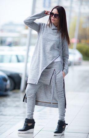 Elegant Tricot set Grey Sports Zipper Set Harem by