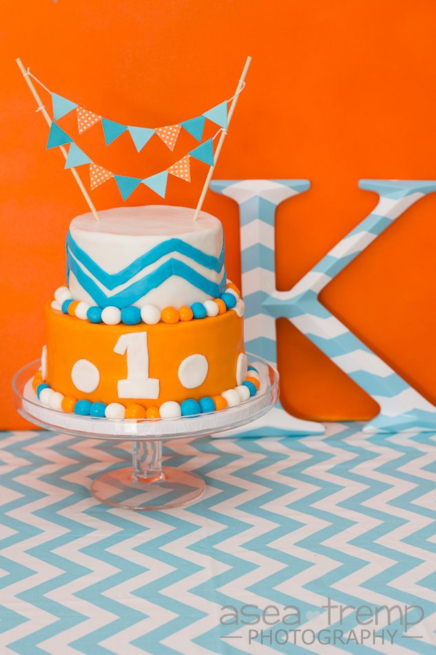 orange and aqua blue chevron theme birthday party twotier cake