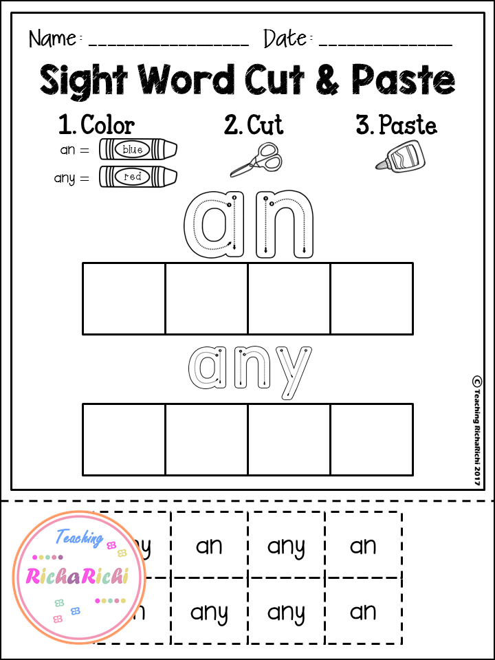 Sight Word Cut and Paste Worksheets (First Grade) | Sephora, Jardín ...