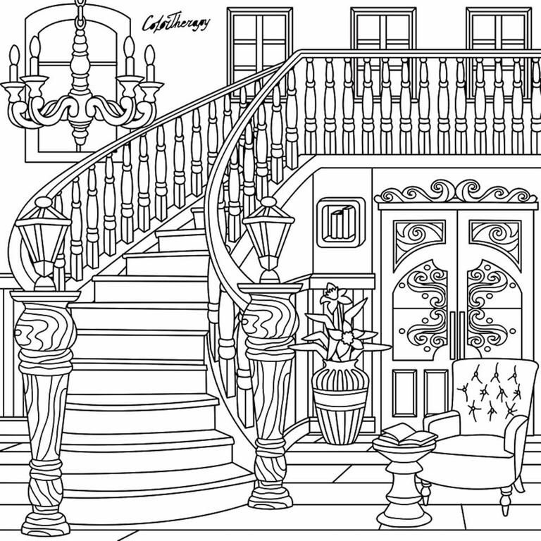 Staircase coloring page ColorTherapy