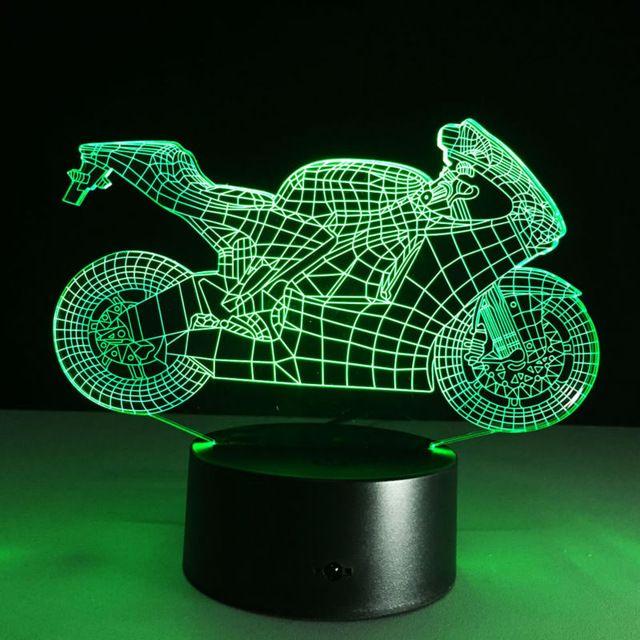 Led Night Light Art Deco 3d Motocicleta Interruptor De Toque Lampada De Mesa Luz Da Noite Quarto Cacoa O P Presentes Criativos Luzes Da Noite Luminarias Legais