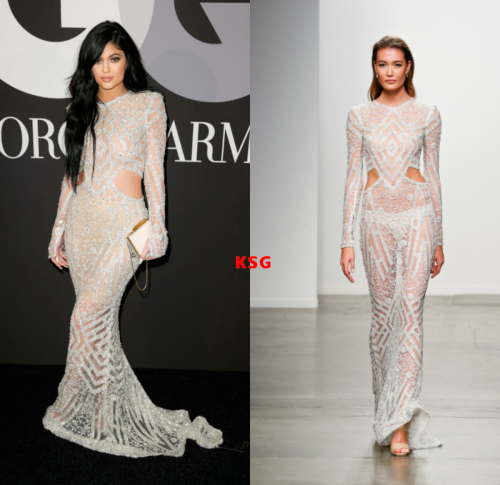 Kylie Jenner at the GQ & Giorgio Armani Grammy Celebration Party in Hollywood  wearing a Steven Khalil Spring 2015 Collection Gown.
