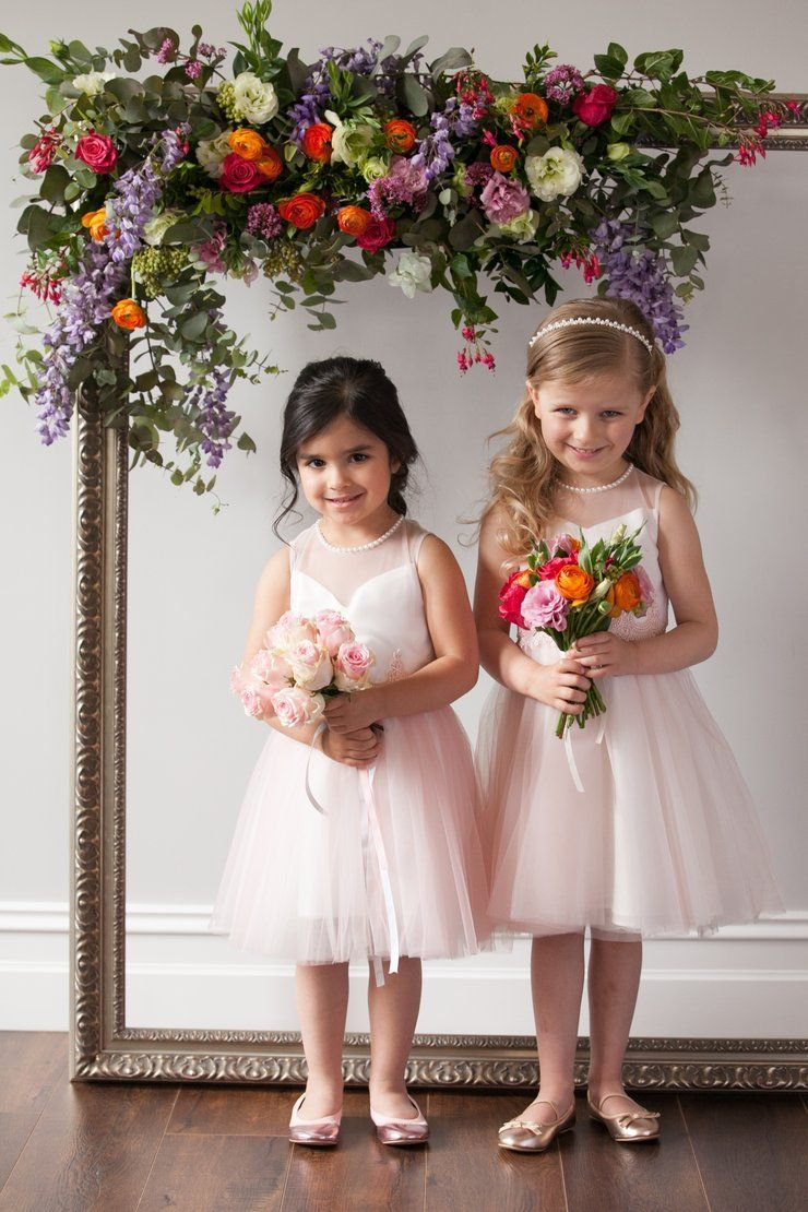 Beautiful pink white flower girl dress lace detail and