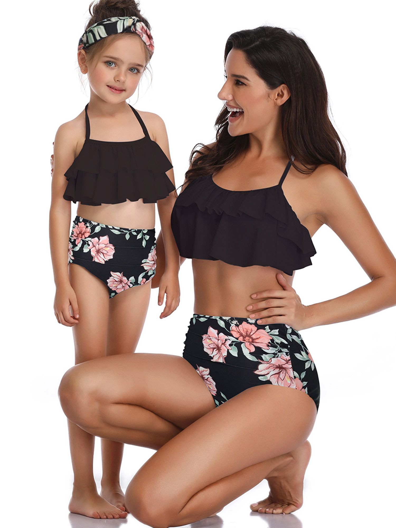 vacation Swimwear Beachwear Swimsuit Bikini children Floral Bathing 2pcs//set