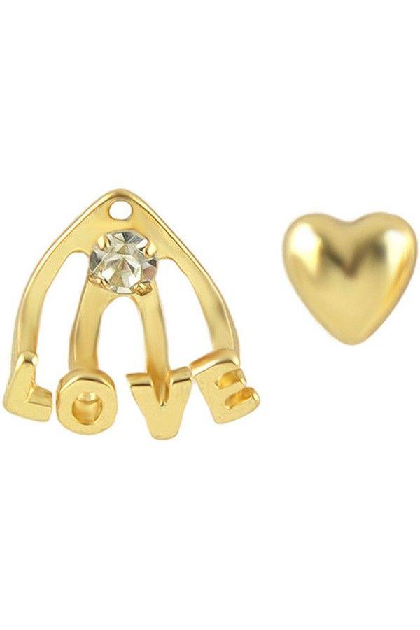 LUCLUC Gold Love-pattern Stud Earrings