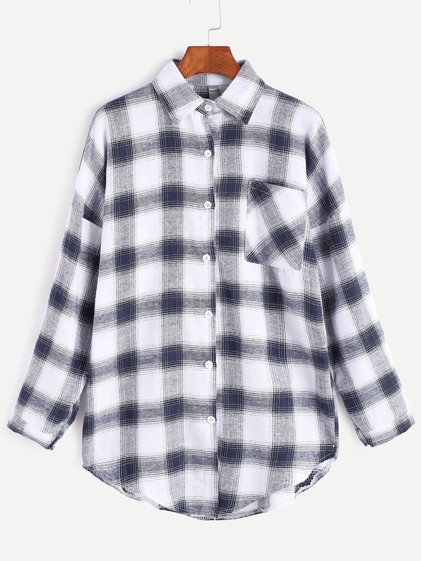 Tartan Plaid Drop Shoulder Curved Hem Pocket Shirt — 0.00 € -----color: White size: one-size