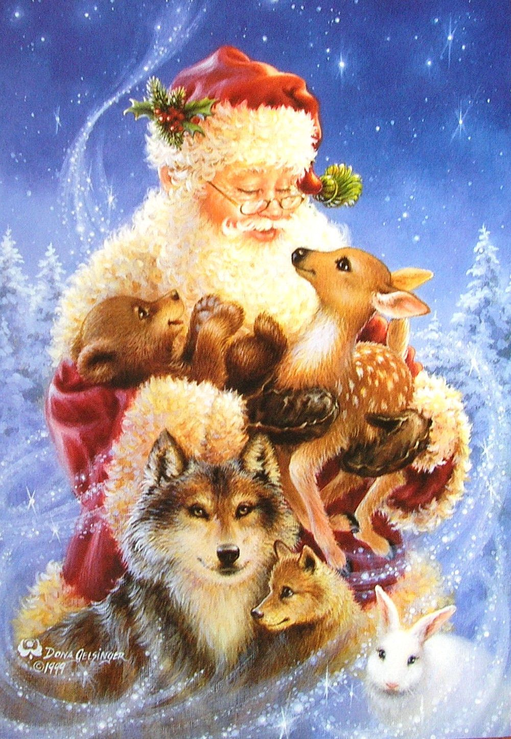Dona Gelsinger Santa Animals Wildlife Bear Wolf Bunny Deer Woods ...