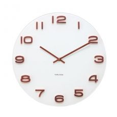 Karlsson Round Vintage White Glass Copper Numbers 35cm Wall Clock