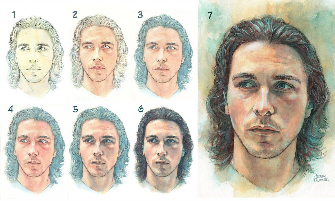 Watercolor Portrait Step By Step By Trunnec Watercolor