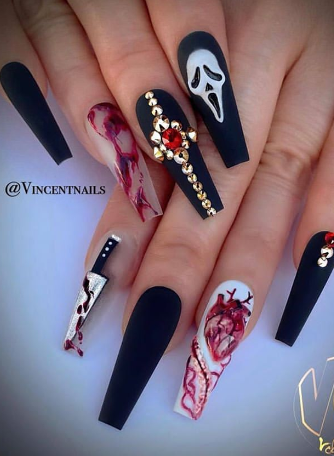 48 Alluring Acrylic Coffin Nails To Make Your Fall Nails Beautiful Page 23 Of 48 Latest Fashion Trends For Woman Halloween Nail Designs Halloween Acrylic Nails Holloween Nails