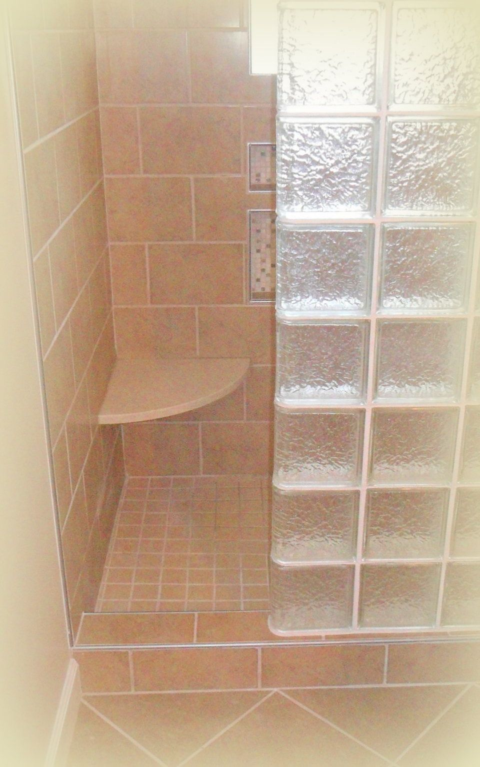 Tiled Shower With Marble Corner Seat Schluter Trim Glass Block Wall And Tile By Shaw Glass Blocks Wall Glass Block Shower Bathroom Wall