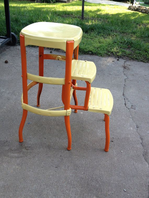 Wonderful Vintage Metal Stool A Fresh Coat Of Bright