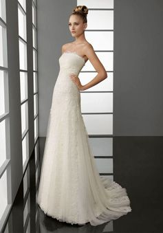 Lace Embroidery Tulle Sweep Train  Column Wedding Dress picture 1