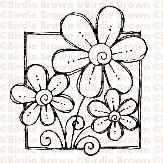 Digital stamp -- Doodled Flower | MODELLI | Pinterest | Flores ...