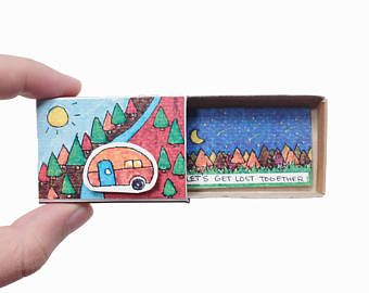 """Freundschafts-Karte / Freund Valentine Matchbox / Geschenk-Box / """"Let's get lost zusammen"""" / Geschenk für Reisende / OT096"""