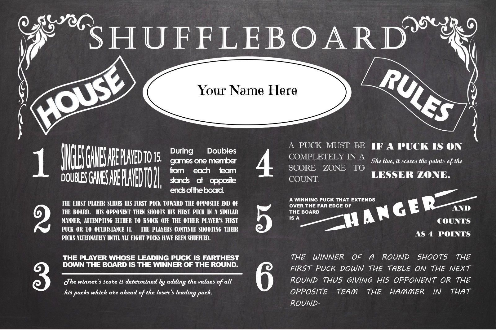Details About Personalized Vintage Chalkboard Look Table