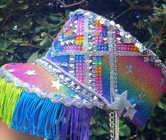 Rainbow Star Bright Marching Band Hat (Premade) festival hat military hat & Rainbow Star Bright Marching Band Hat (Premade): festival hat ...