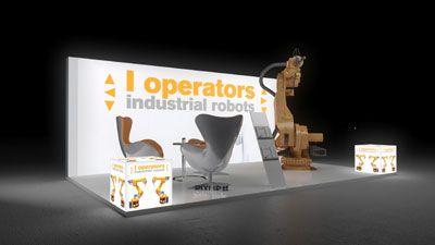 282 Industrieroboter l operators   | Schlichter Messestand für einen Hersteller von Industrierobotern.  Die hohe, rahmenlos bedruckte Rückwand in weiss mit Logodruck in gelb macht den k...
