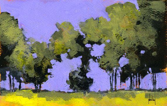 Original abstract tree woodland painting - Morning poplars