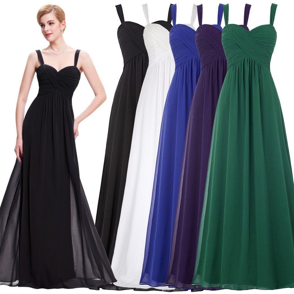 Chiffon elegant ball gown evening party cocktail formal maxi