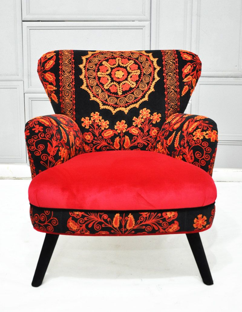 Patchwork armchair with Suzani and crimson velvet fabrics