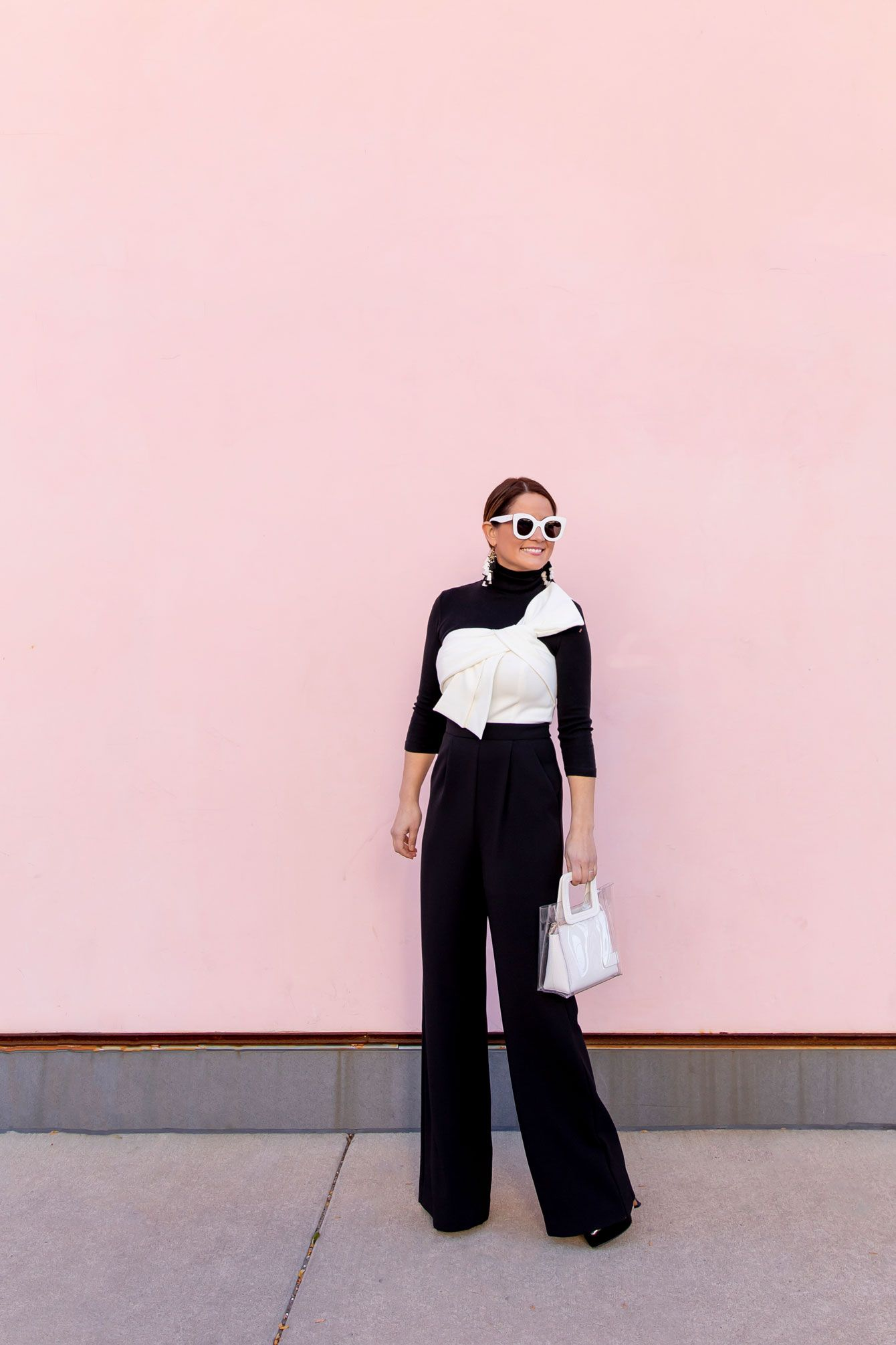 567f9dab5663 Black and White Bow Front Jumpsuit