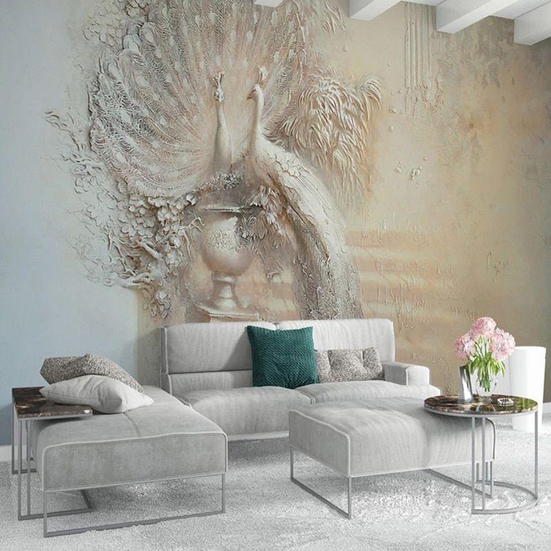 Dropship European Style Retro 3D Relief Peacock Photo Wall