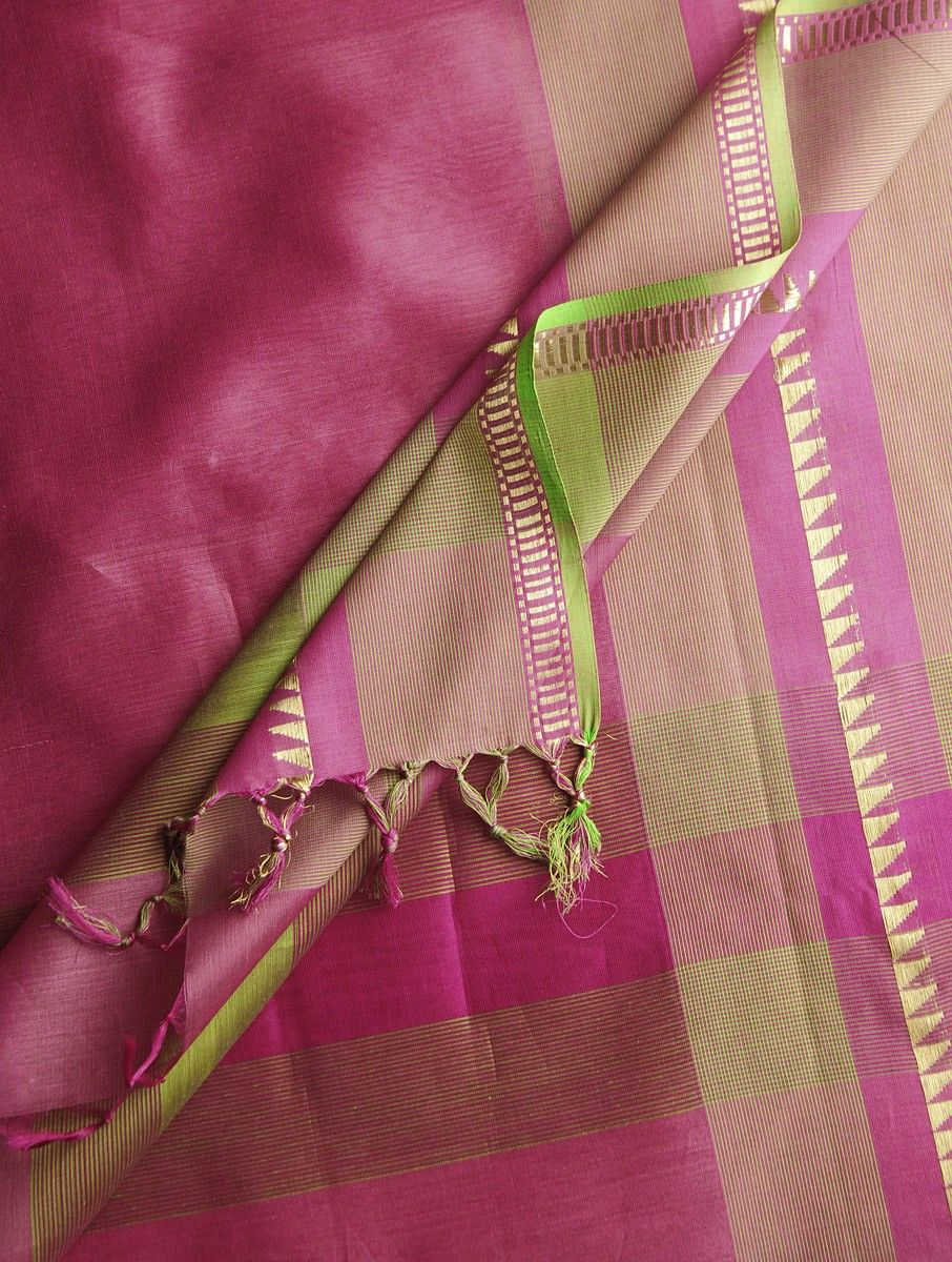 Pink-Golden Maheshwari Silk-Cotton Dupatta  #mystatewithjaypore Maheshwar, Madhya Pradesh