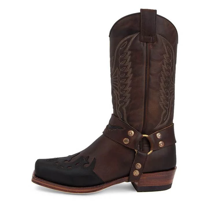 Squared-toe Carved Cowboy Boots