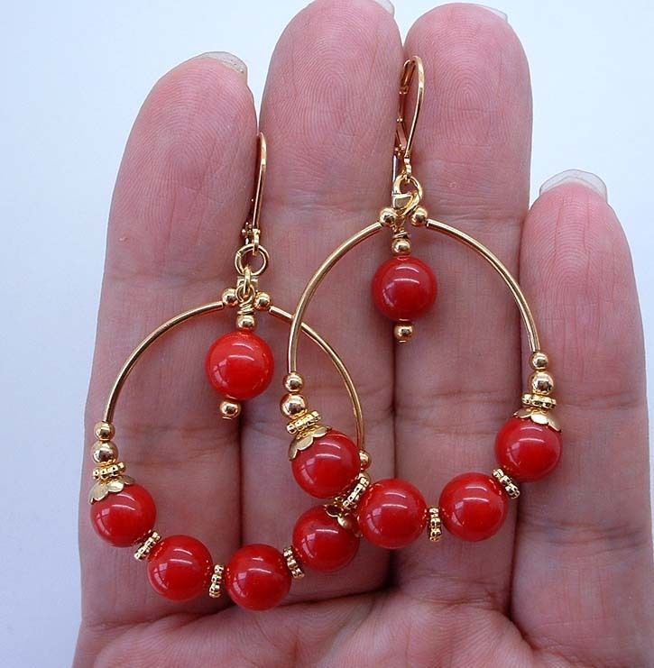 Details about Beautiful Red Coral Hoop Gold Earrings — Leverbacks A1228