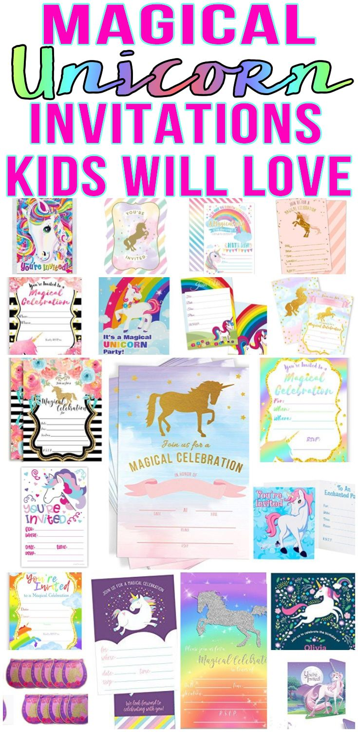 Top Unicorn Party Invitations Kids Will Love | Unicorn party, Party ...