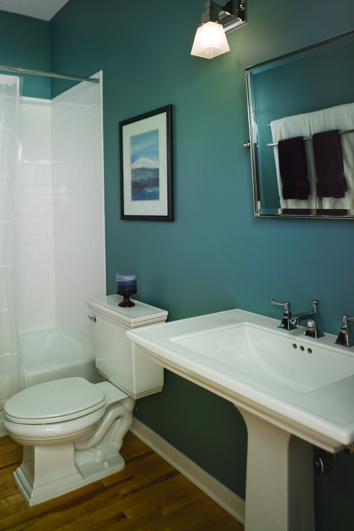 Economic Bathroom Designs Dark Wood Floors Pedestal Sink And Teal Walls Love The Combo
