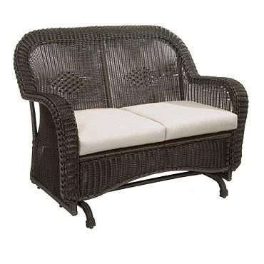 Classic Wicker Double Glider With Cushions Traditional Patio Furniture Patio Furnishings Furniture