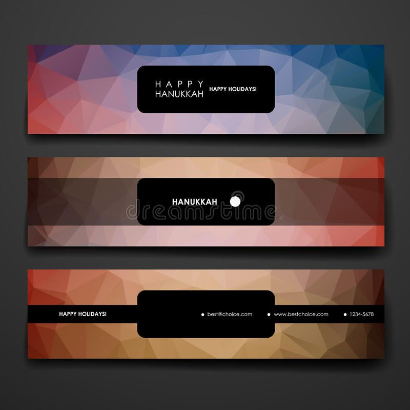 Set of modern design banner template in Hanukkah Style Beautiful design and la