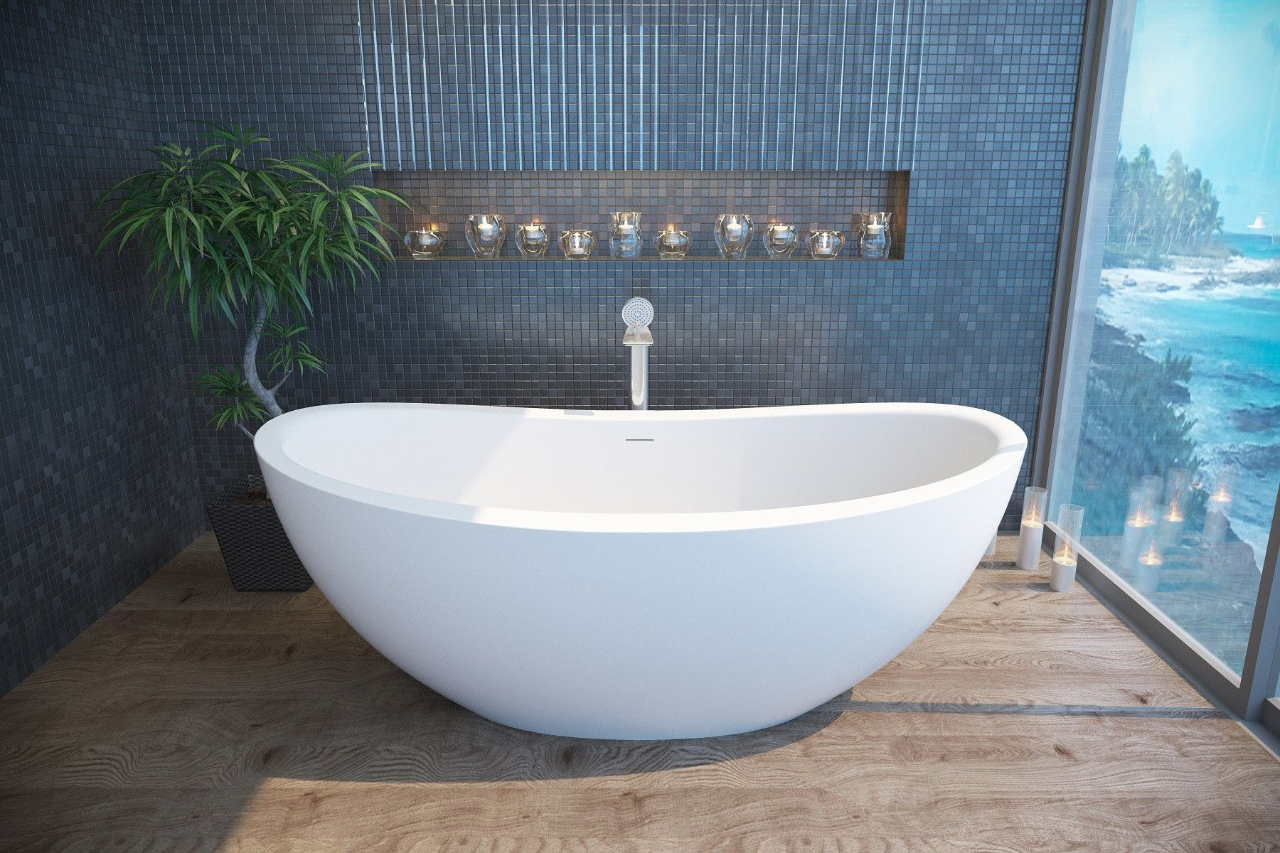 Aquatica PureScape 171: Huge Freestanding Curved Stone Tub for Two ...