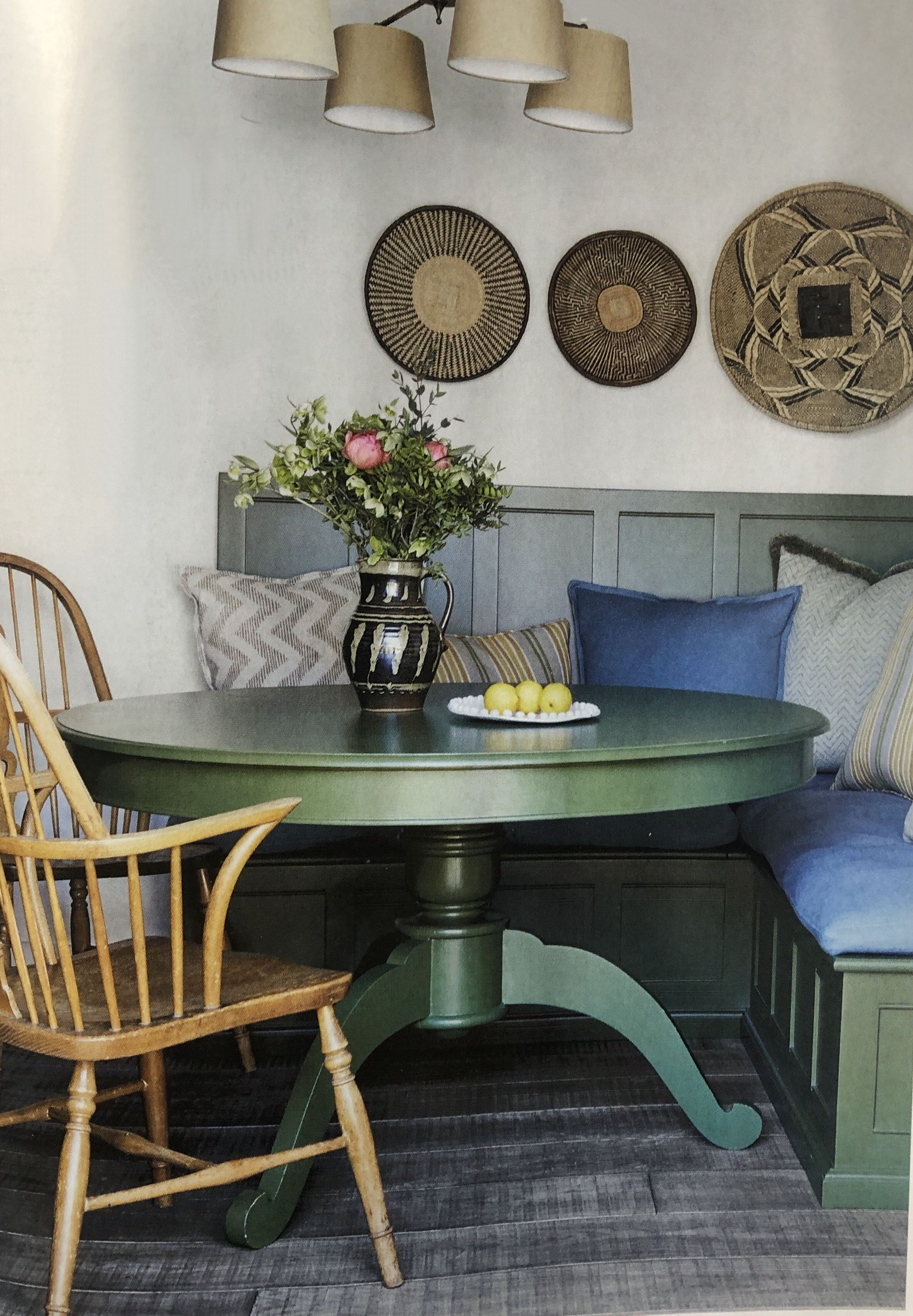 Dining area, green, round table,dining bench, painted furniture ...