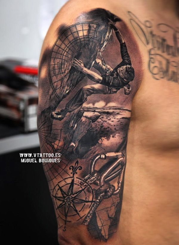A well detailed sleeve tattoo with a powerful message.  The tattoo shows a person on a journey throughout the globe complete with maps and a compass to guide his way. Various sceneries also play in the background showing the person wants to conquer the world.