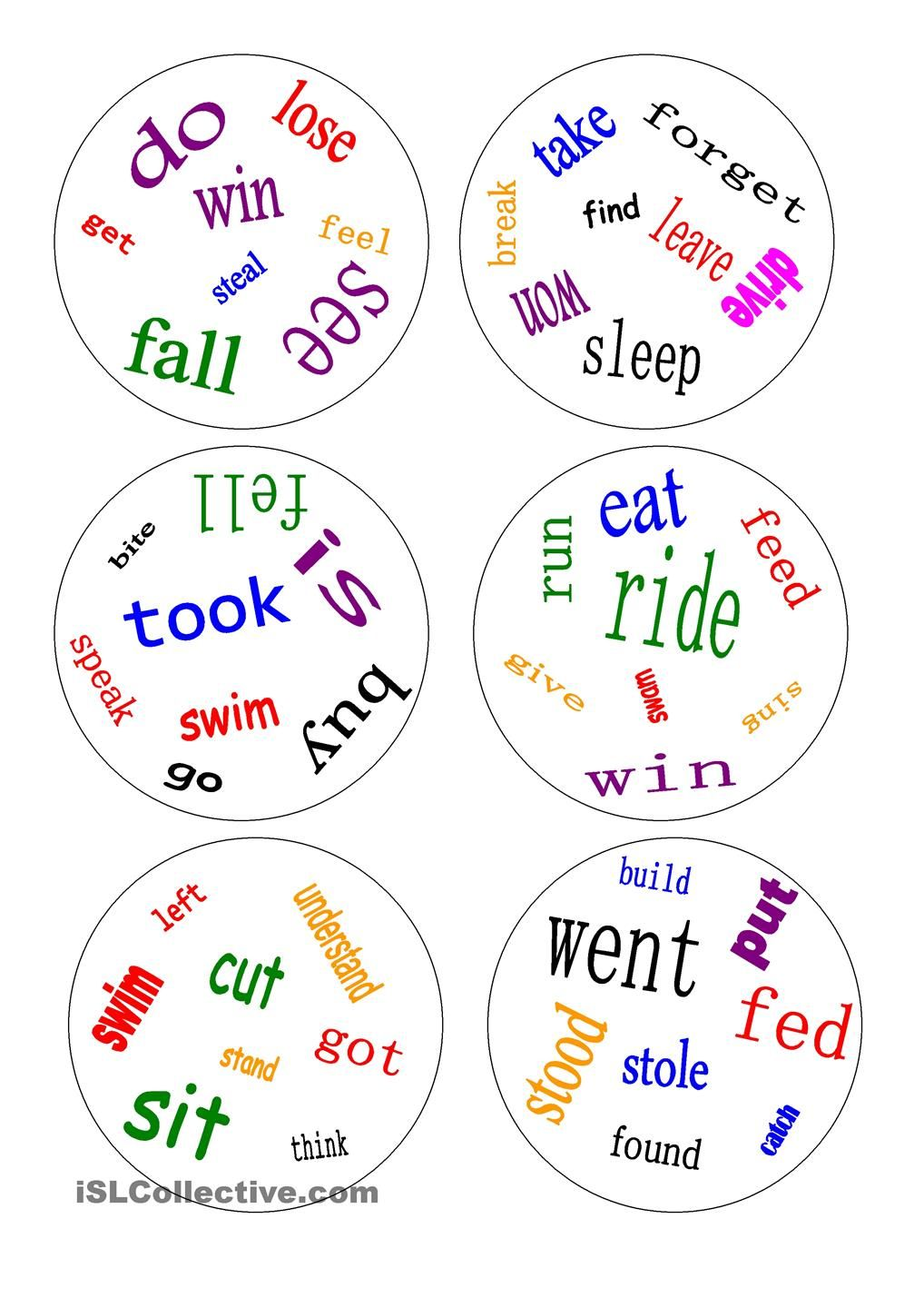 Dobble - irregular verbs - a game | ESL worksheets of the day ...
