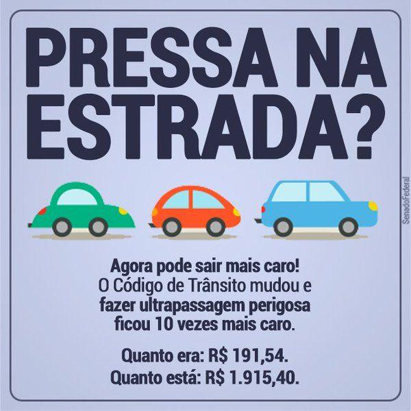 Lei  alterou artigo 191 do Código de Trânsito Brasileiro, aumentando a multa para quem fizer ultrapassagem perigosa