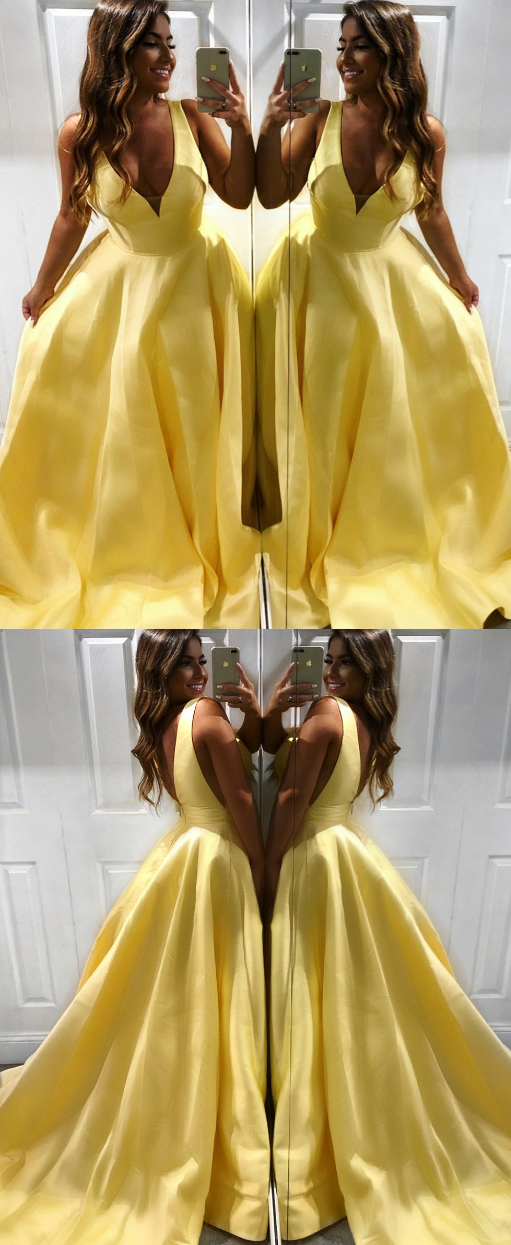 Princess v neck yellow long prom dress yourself pinterest prom