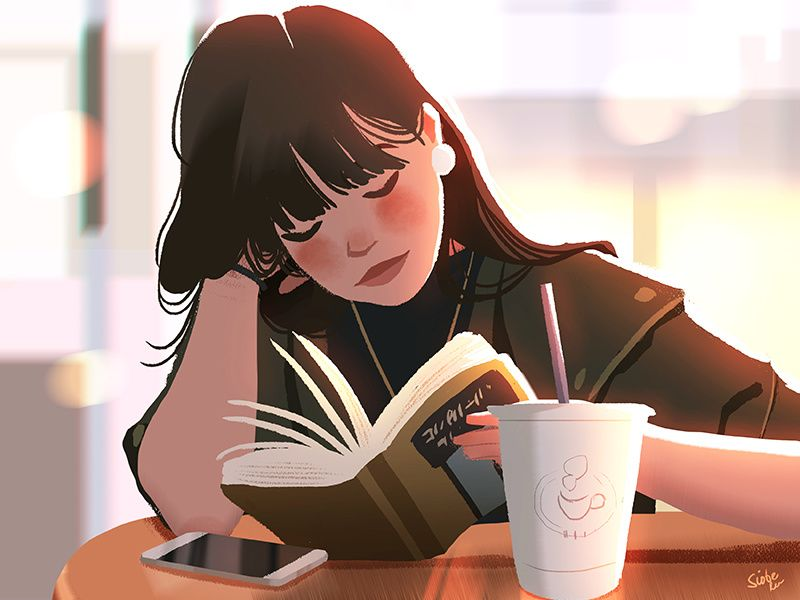 Coffee Shop Illustration Art Girl Girly Art Digital Art Girl