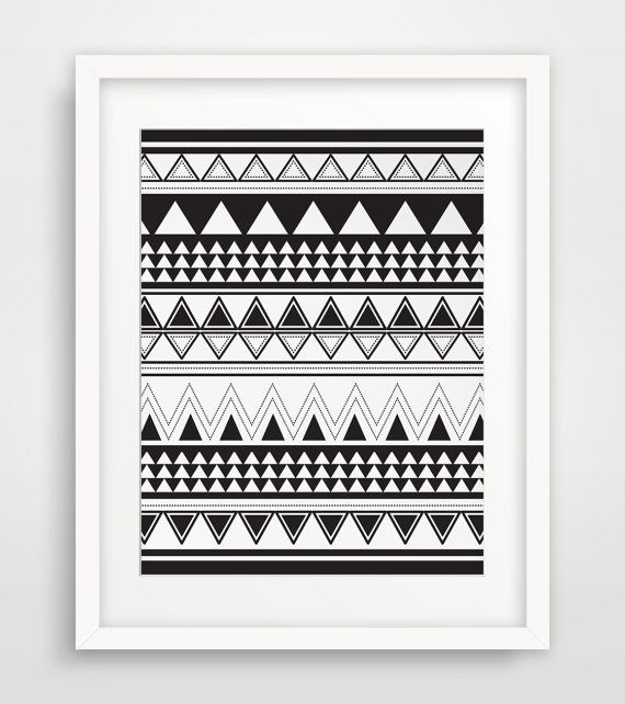 4c099fdf04aeb Aztec Triangle Print, Black and White, Geometric Pattern, Aztec Wall Art,  Tribal Art, Tribal Print, Black Geometric Print