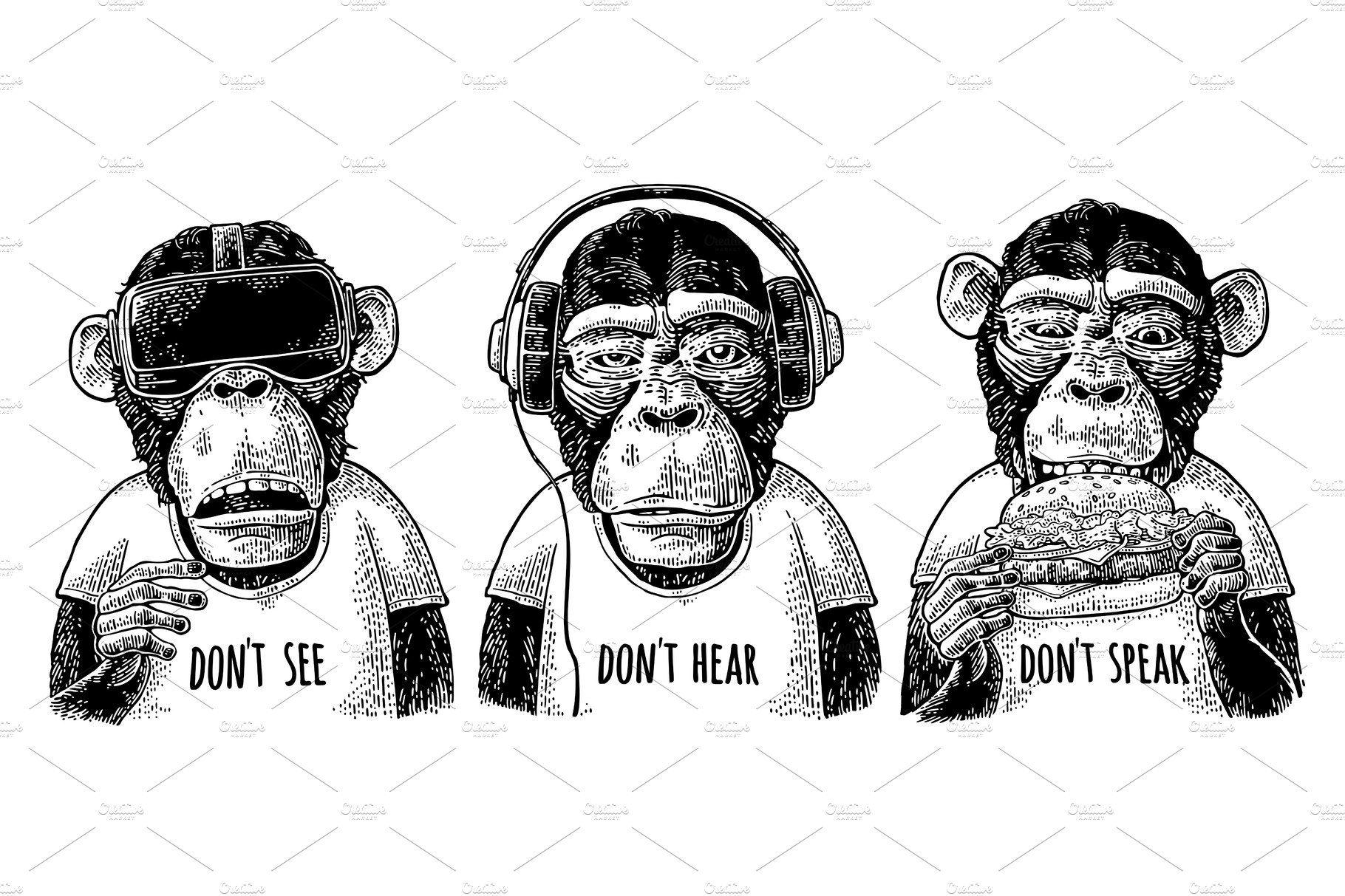 Three Wise Monkeys Engraving Moda Para Homens Negros Tres