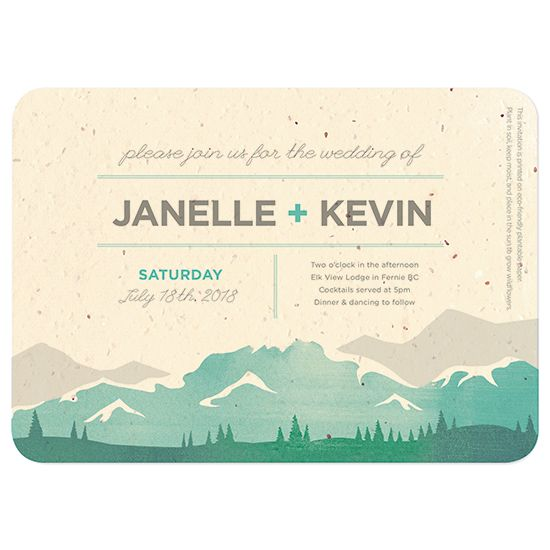 Mountain Seed Paper Wedding Invitations