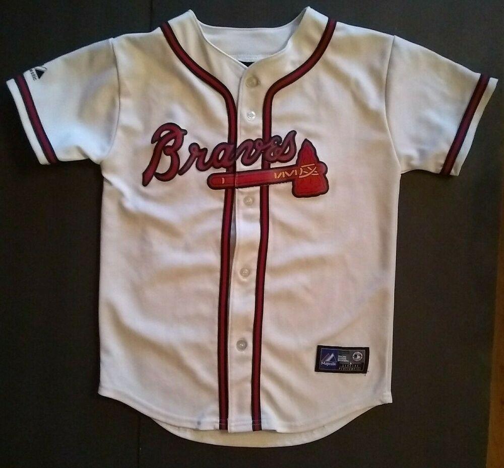 Freddie Freeman Atlanta Braves Jersey Majestic Youth Kids Medium Flaws Majestic Jerseys Vintage Sports Clothing Atlanta Braves Jersey Atlanta Braves Baseball
